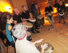 Drumming and dancing, November 21, 2010